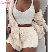 Adogirl Women Fleece Plush Casual Two Piece Set Long Sleeve Hooded Cardigan Coat