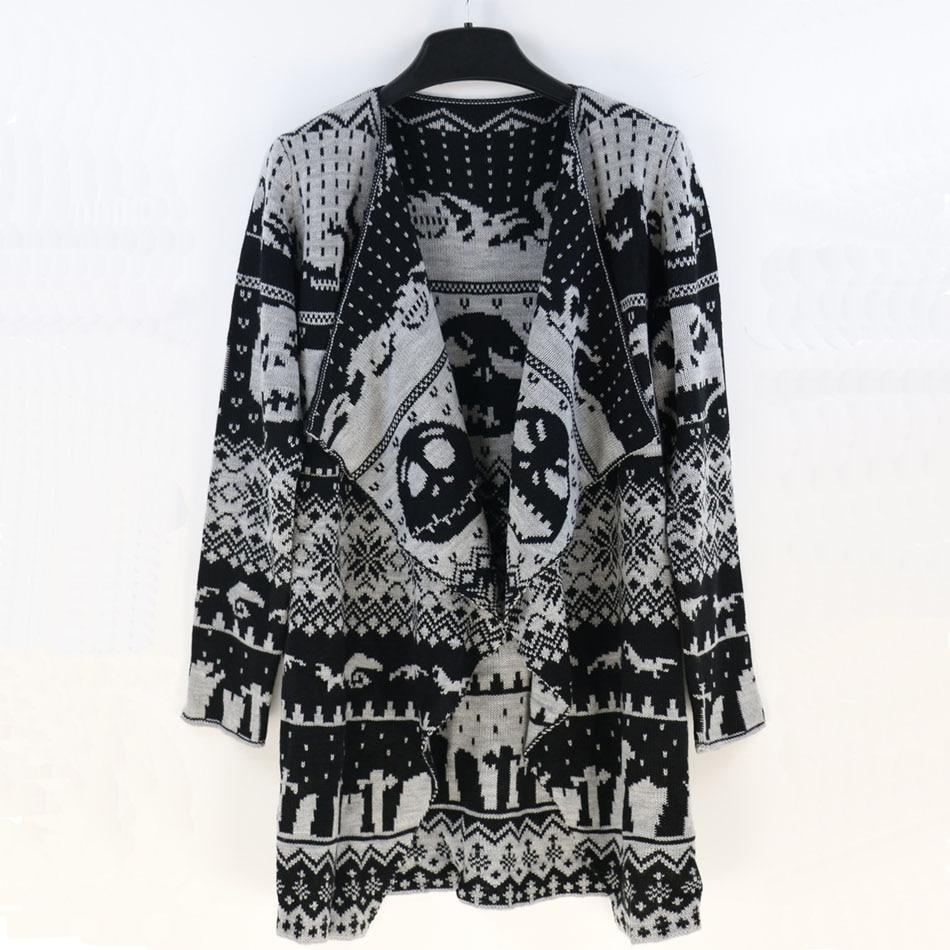 Halloween Skull Pattern Knitting Tunic Cardigans Sweater Black Women ...