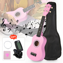 21 Pink Soprano Basswood Ukulele Uke Hawaii Bass Guitar Guitarra Musical Instruments Set Kits Tuner Strings
