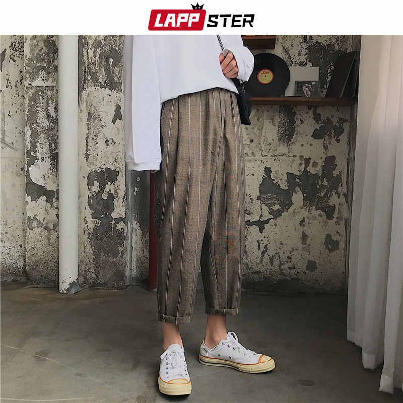 LAPPSTER 男性原宿ワイド脚チェック柄パンツ 2019 ヒップホップハーレムパンツ男性ヴィンテージファッションスウェットパンツ黒綿ジョギングパンツ