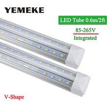 цена на V-Shape Integrated LED Bulbs Tubes T8 600mm 2Feet 20w Led Tube Light AC85-265V 96LED SMD2835 270 Degree Super Bright 2000lm