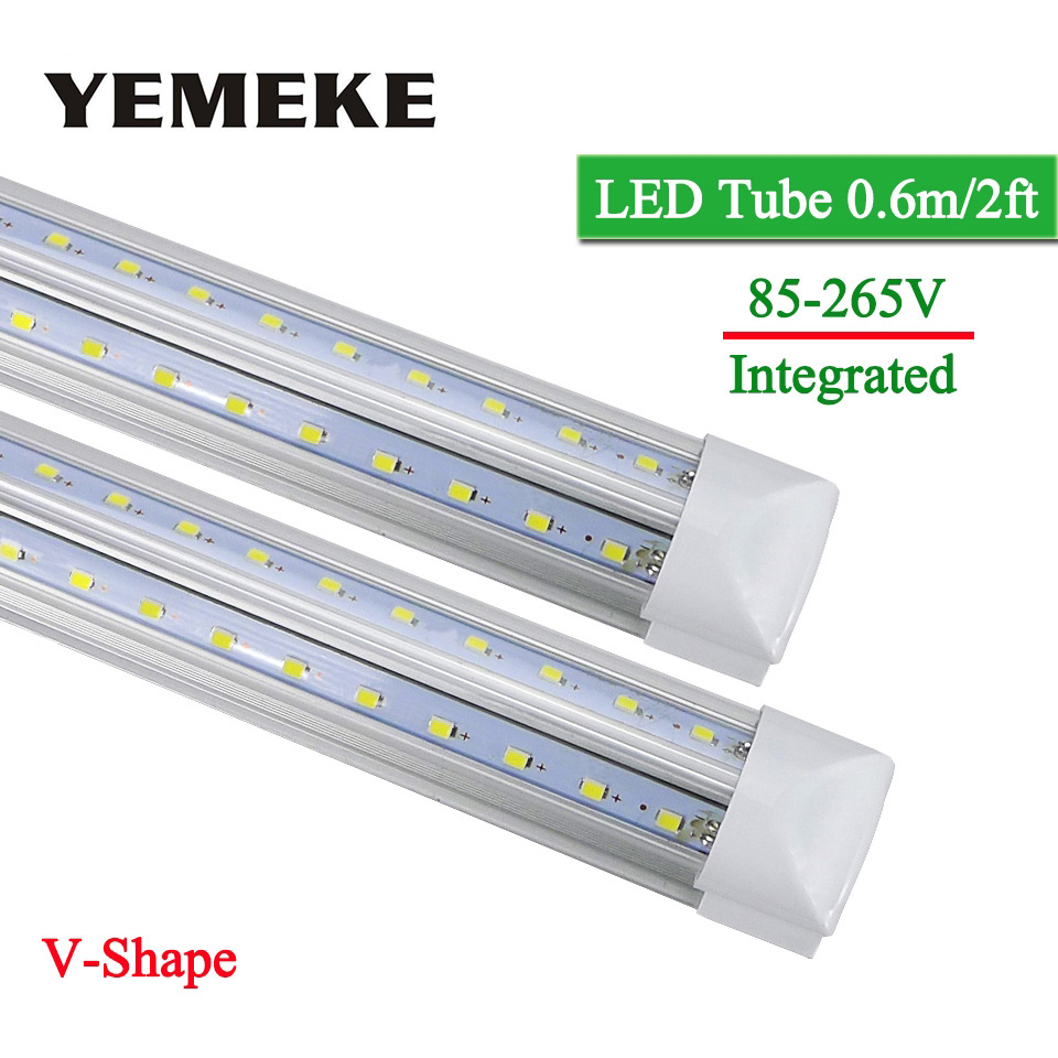 V-Shape Integrated LED Bulbs Tubes T8 570mm 2Feet 20w Led Tube Light AC85-265V 96LED SMD2835 270 Degree Super Bright 2000lm цена