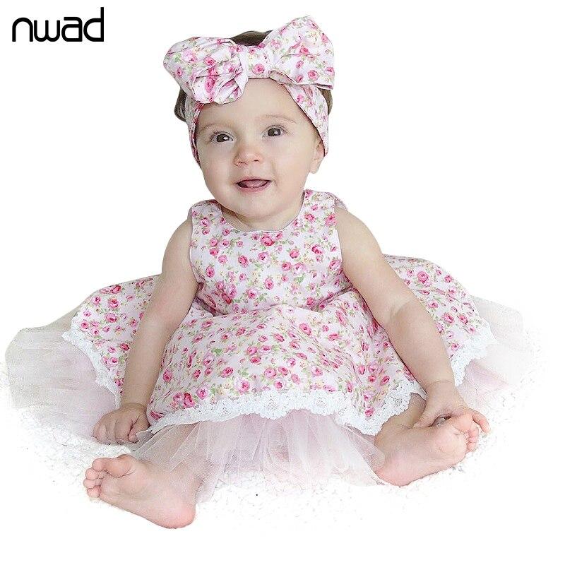 Baby Girl Lace Dress 2017 New Fashion Flower Print Princess Children Girls Dresses Summer Sleeveless Baby Kids Clothes FA024