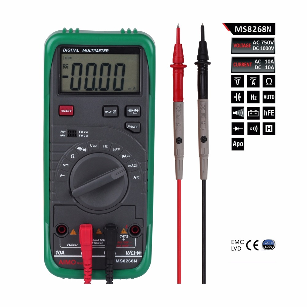 AIMO MS8268N pro TRUE RMS Auto Range AC DC Voltage Current Frequency Resistance Capacity Diode Test Tester Digital Multimeter automotive multimeter test vehicle car battery dc ac voltage frequency resistance diode pen style tester