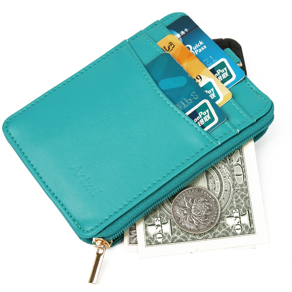 Artmi Womens Leather Wallet Female Card Holder RFID Small Card Case Compact Wallet Change Wallet Coin Card Holders Dollar Bag
