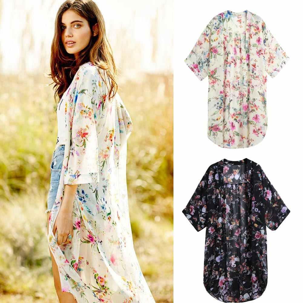 4fd7ddeda73 5XL Plus Size Blouses Women Boho Chiffon Kimono Cardigan Cape Bikini Cover  Ups Floral Long Beach