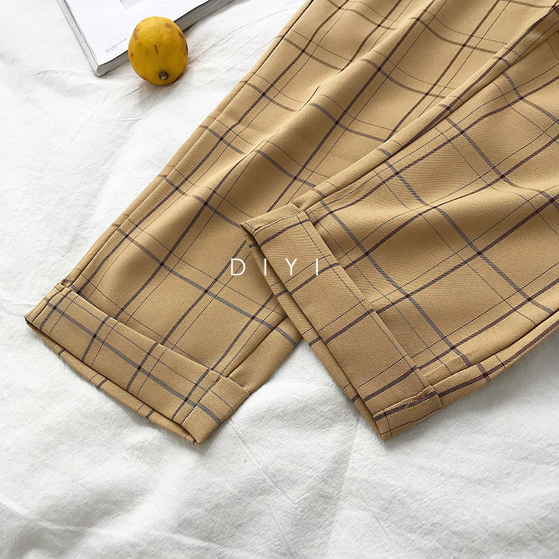 CamKemsey Japanese Harajuku Casual Pants Women 2019 Fashion Lace Up High Waist Ankle Length Loose Plaid Harem Pants 41