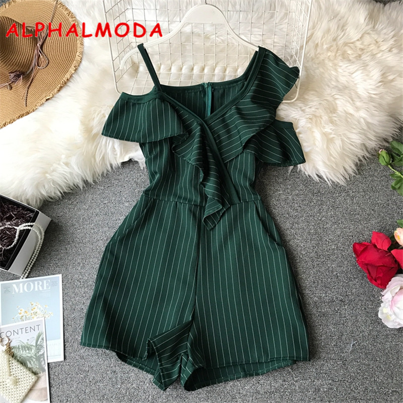 ALPHALMODA Summer Ladies Ruffled Short Playsuit Irregular Off-shoulder High Waist Women Stylish   Jumpsuits   Striped Fashion Romper