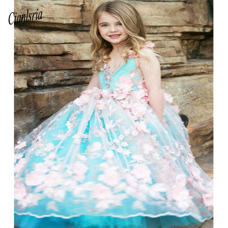 Luxury   Flower     Girl     Dress   with 3D Pink   Flowers   And Beading For Special Occasion V-Neck Custom Made Soft Lace   Girls   Pageant Gowns