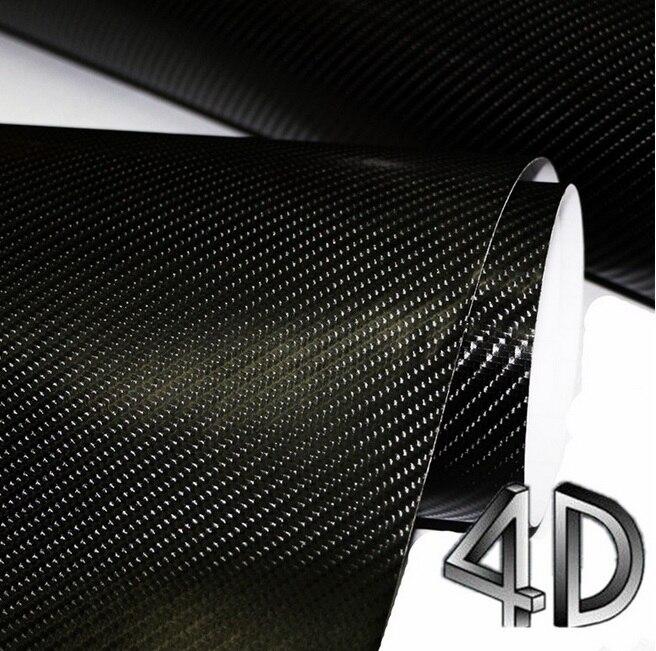 600mm x 1520mm Car Styling 4D En Fiber De Carbone Brillant Noir D'enveloppe de Vinyle Fiche Film Bulle D'air Libre de Livraison 24 x 60 autocollant Corps Kit