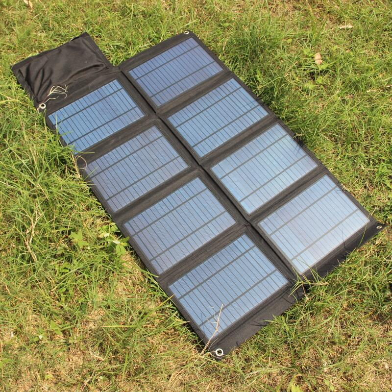 New 50W Solar Panel Charger For Mobile Phones/iphone Power Bank Dual USB5V&DC 18V Output For 12V Battery Charger