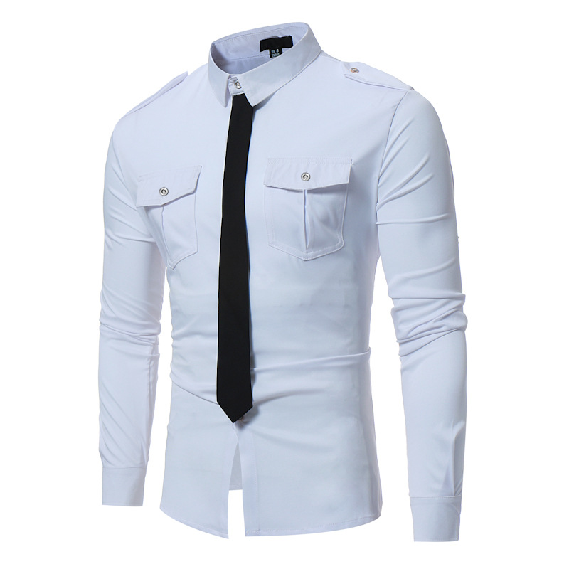 924de5a77ac9 2019 Mens Fake Tie Designed Dress Shirts 2018 Brand Hit Color Slim ...
