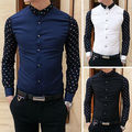 Autum&Winter 2015 Men's Polka Dot Stitching Long-Sleeved Casual Shirts Korean Style Slim Cotton Comfortable Shirts