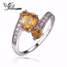 JewelryPalace 925 Sterling Silver zero.9ct Pure Citrine three Stone Anniversary Ring FIne Jewellery for Ladies Assertion Ring New Model