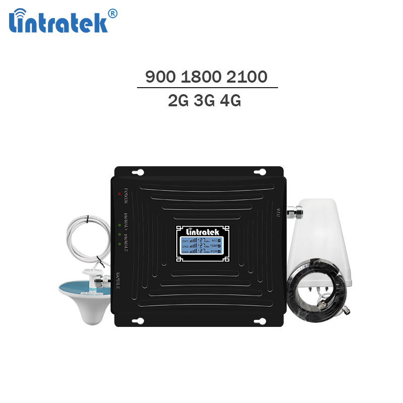 Lintratek Tri band Repeater 900 1800 2100 2G 3G 4G Repeater GSM UMTS LTE 1800 4G