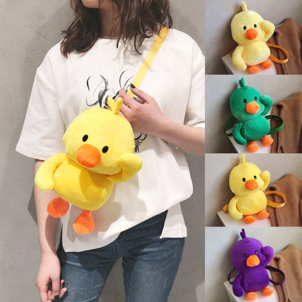 Fashion Women Girl Duck-Like Plush Crossbody Bags Weird Bag Cute Shoulder Bags *(China)