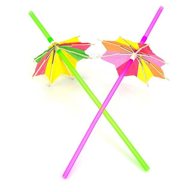 HOT 10 Cocktail Umbrella Straw Tropical Hawaiian Party Accessories Random  Color