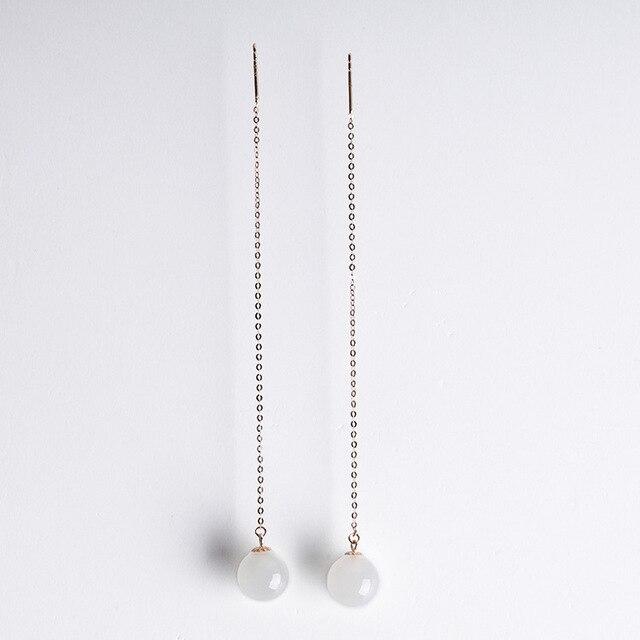 2020 Earings Fashion Jewelry National Wind Jade Beads Earrings 8 Mm Long Female With Certificate Of 18 K Rose Hetian Ear Wire  5