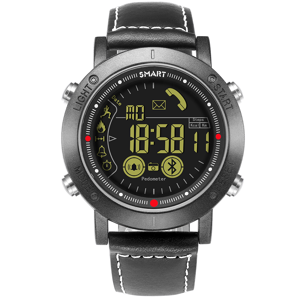 Montre intelligente hommes Bluetooth numérique étanche antichoc Sport montres en cuir mode intelligente hommes montres Relogio Masculino