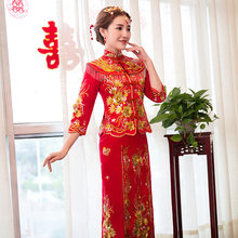 Chinese Star style wedding show Embroidery cheongsam gown robe clothing pratensis dragon gown evening dress noiva Qipao Vestidos(China)