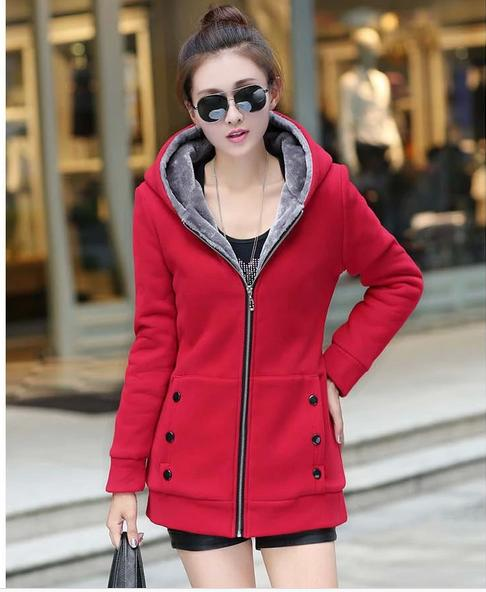 Basic     jackets   coat fall and winter clothes thick velvet hooded Coats Woman Plus Size Ladies Slim   Jacket   Coat 1636