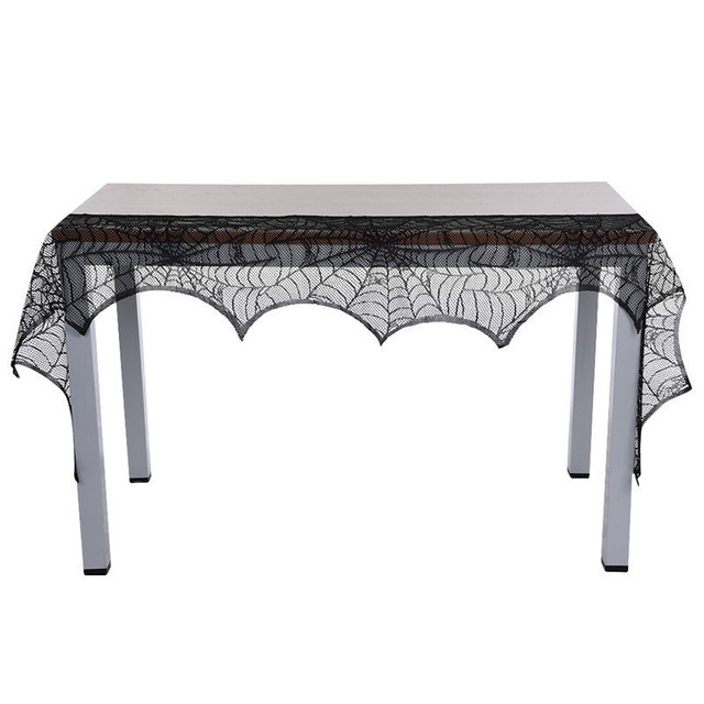 Halloween Knitted Lace Fireplace Cloth Black Spider Web Ghost Festival Stove Cloth Halloween Party Tablecloth  46*224cm