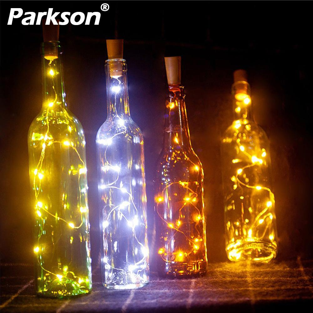 RGB LED String Lights Garland On Batteries 2M Copper Wire Cork Wine Bottle Stopper Christmas Fairy Tale Lights Decoration