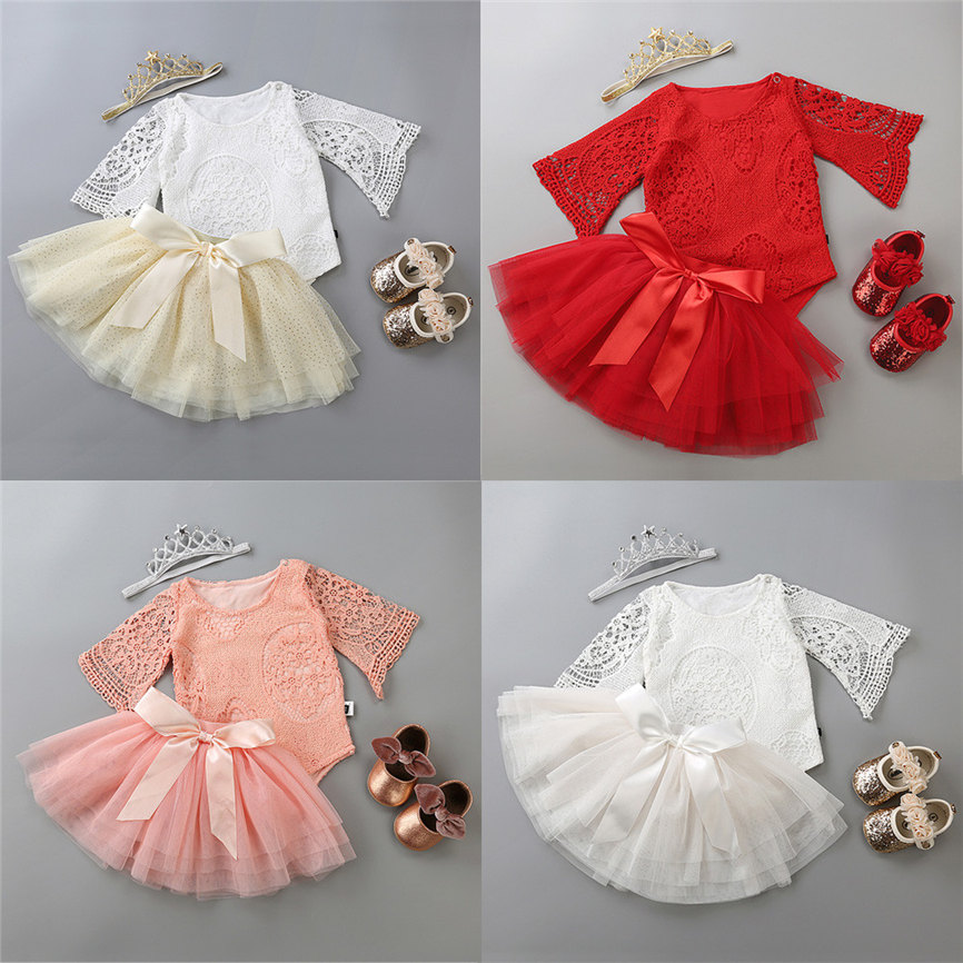 Fashion 2018 Toddler Baby Girl Ruffles Bowknot Tops T-Shirt Shorts Pants Outfits Clothes Sets Sports Suit For Girls Dropshipping