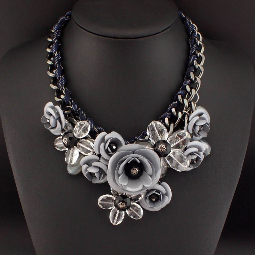 product flower gallery lyst multichain saab elie jewelry metal necklace long in metallic