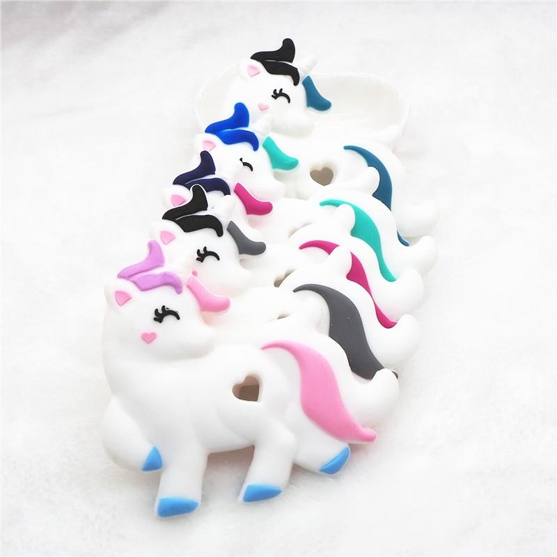 Купить с кэшбэком Chenkai 10PCS BPA Free Silicone Unicorn Teether Beads DIY Baby Shower Animal Pacifier Dummy Teething Sensory Nursing Toy