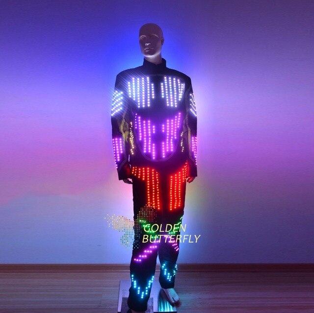 СВЕТОДИОДНЫЙ Костюмы светящиеся модная одежда радуга световой костюмы шоу талантов Для мужчин; Светодиодный Костюмы бальные платье для танцев аксессуары