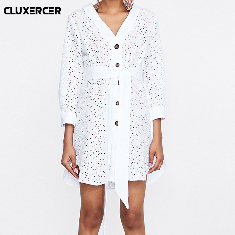 Women White Long Sleeve Shirt Dress Summer Fashion V Neck Straight Elegant Woman Bloues Casual Clothing Tops