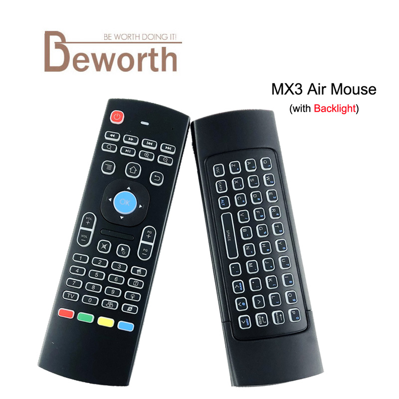 лучшая цена MX3 Air Mouse Backlight X8 2.4G Wireless Mini Keyboard IR Learning Fly Air Mouse Backlit Remote Control For Android TV Box