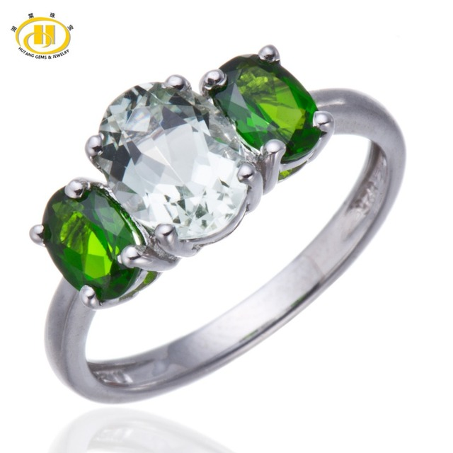 Hutang 3-stone Natural Green Amethyst & Chrome Diopside Solid 925 Sterling Silver Ring Fine Jewelry HuTang