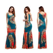 Summer Folk African Bodycon Long Maxi Dress
