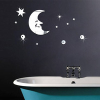 3D Acrylic Moon Star Crystal Mirror Wall Stickers Silver DIY Home Decoration Sitting Room Bedroom Toilet