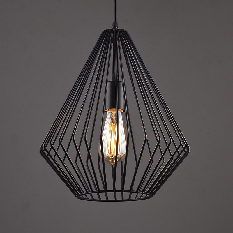 Nordic Retro Art Deco Black Iron Pendant Lamp Suspension
