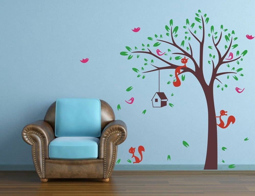 Squirrel on a Tree Nature Wall Tattoo Wall Sticker Wall Sticker c0570
