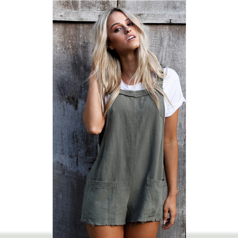 Ashion Women Ladies Loose Overalls Pockets Jumpsuit Sleeveless Strap Rompers Dungaree Oversize Playsuit Causal Trousers Rompers