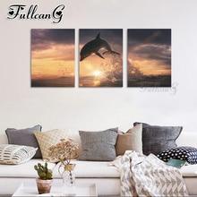 FULLCANG diy 5d mazayka embroidery sale sunrise seascape dolphin animal diamond painting triptych full square/round drill FC921