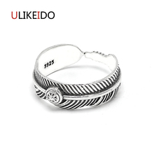 купить Real 925 Sterling Silver Jewelry Feather Rings Adjust Eagle Punk Thai Silver Ring For Men And Women Birthday Gift 558 дешево