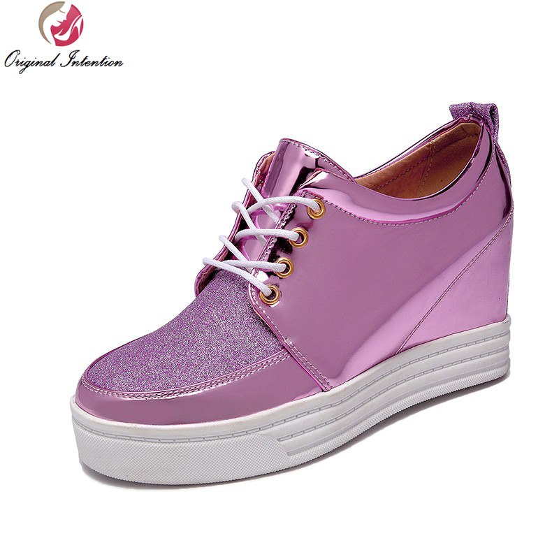 ФОТО Original Intention 3 Colors Women Casual Shoes Elegant Round Toe Height Increasing Gold Silver Pink Shoes Woman US Size 4-10.5