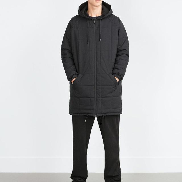 Vogain inverno 2016 primavera longo dos homens acolchoado algodão Parkas com capuz com bolsos com zíper frontal