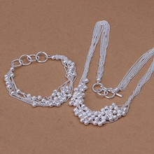 Silver plated refined luxury gorgeous fashion elegant classic sand beads two piece sets hot selling wedding jewelry S142