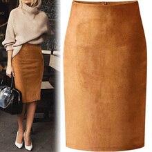 Сексуальная разноцветная замшевая юбка-карандаш средней длины для женщин модная эластичная высокая талия Офисная Женская облегающая юбка Saias