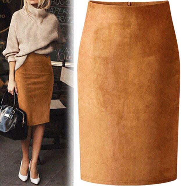 7854247ee7 Sexy Multi Color gamuza Midi falda lápiz mujeres 2018 moda elástica alta  cintura Oficina señora Bodycon