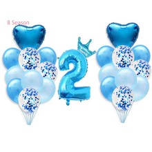 8Season 2st Happy Birthday Balloons Foil Number Banner Two Year Baby Boy Girl Party Celebration Perfect Decor Supplies