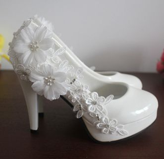 02c84792a3fe ᗛСупер Обувь на высоком каблуке платформы Белые свадебные туфли ...