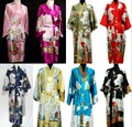 Top novo estilo moda chineses de seda / cetim mulheres Kimono Robe vestido de banho dos homens vestido de noiva Robe de seda roupão um tamanho