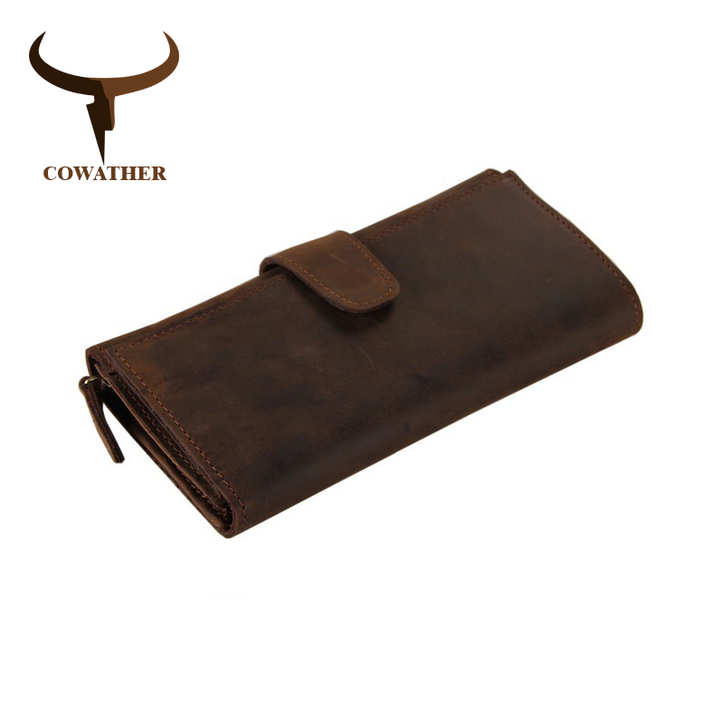 COWATHER genuine cow leather long mens alligator wallet for men vintage good male purseMulti card holding bag with 21 cards